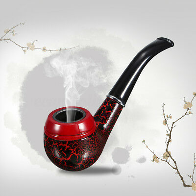 Wooden Enchase Smoking Durable Pipe Tobacco Cigarettes Filter Pipe Gift Dark Red