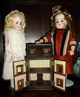 Manwaring style mini wood dollshouse, Toy for your antique dolls, all handmade