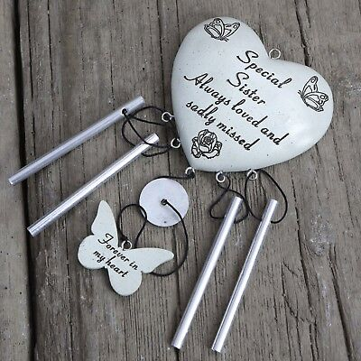 David Fischhoff Grave Memorial Heart Wind Chime Ornament Stone Sister 076