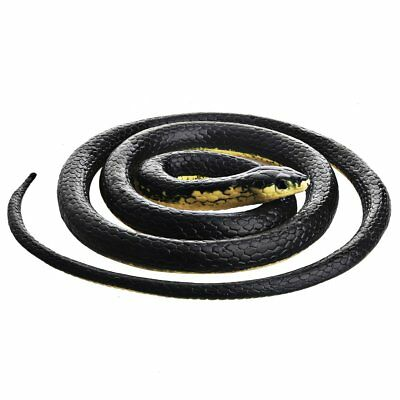 Fake Realistic Rubber Snake Halloween Black Mamba Toy 52in Long Props Scary Gag