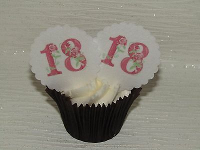 12 18Th Pink Floral Birthday Scallop Wafer Paper Disc Cupcake Cake Toppers