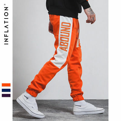 New Men's Letters Printed Vintage Track Pants Elastic Joggers Sport Trousers
