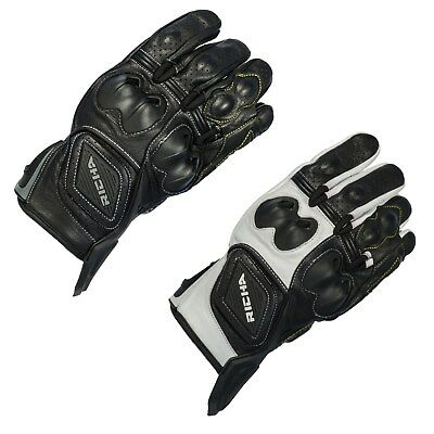 Richa Indy Short Sports Leather Motorcycle Motorbike Summer Gloves Black White