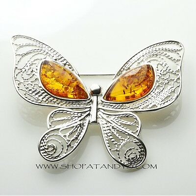 Genuine Baltic Amber 925 Sterling Silver Butterfly Brooch