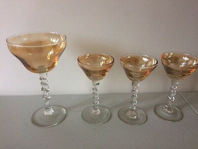 VINTAGE  FRENCH AMBER COLOURED BARLEY TWIST STEM GLASSES x 4