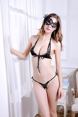 Women's Sexy Bra and Crotchless Thong Panties Mask Tie Up Lingerie Sets for Sex