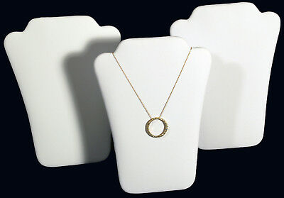 3 New White Leather Padded Necklace Pendant Display 6""