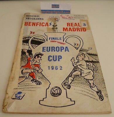 1962 European Cup Final Benfica v Real Madrid Football Programme