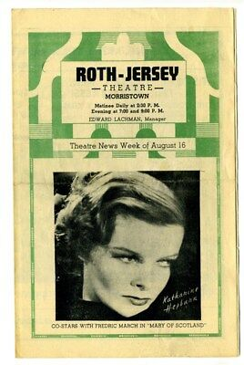 Roth Jersey Theatre Coming Attractions 1936 Morristown Hepburn Mary of Scotland