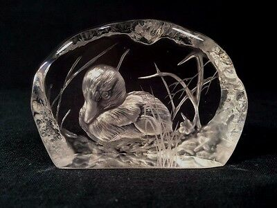 Signed Dartington Crystal A.Capredoni Small Duckling Paperweight (ref B234)