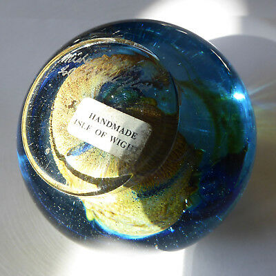 Signed by Michael Harris. Isle of Wight Studio glass paperweight. 1970s Mdina