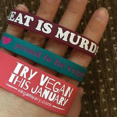 3 Animal Rights Vegan And Veggie Wristbands