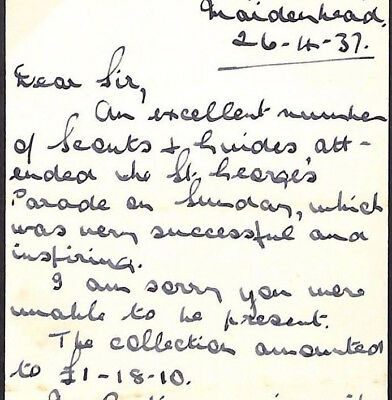 MS3471 1937 GB SCOUTS KEVIII Wallis Correspondence ST.GEORGE'S DAY PARADE Berks