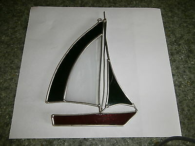 Leaded Stained Glass Window Catcher Sailboat