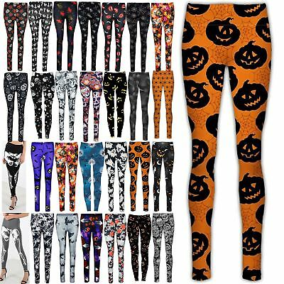 Ladies Halloween Jeggings Spider Web Bats Cobweb Printed Skull Pumpkin Leggings