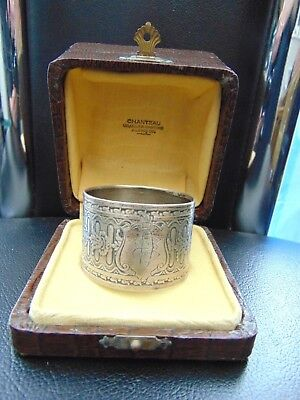 Antique French 950 Silver Napkin Ring Guilloche Style Decoration - Boxed
