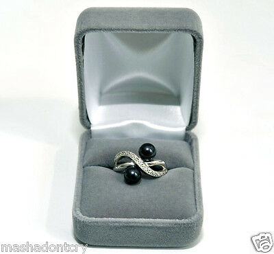 Unique Design Two 7 mm each TAHITIAN BLACK PEARL DIAMOND RING Size 7