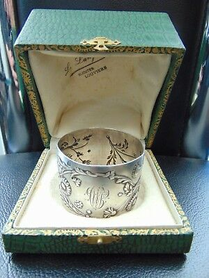 Antique French 950 Silver Napkin Ring Repousse Floral Decoration - Boxed
