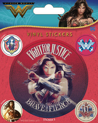 Wonder Woman (Fight For Justice) VINYL STICKERS 5 PACK BY PYRAMID PS7350