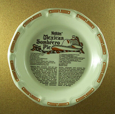 Watkins MEXICAN SOMBRERO PIE Plate 1983 Conventional & Microwave Approved