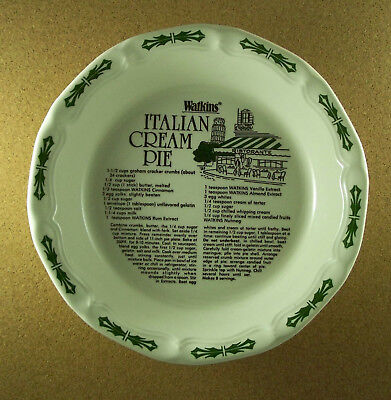 Watkins ITALIAN CREAM PIE Plate 1983 Conventional & Microwave Approved Recipe