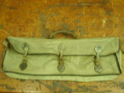 Vintage Fishing Rod / shot gun Bag - leather straps and buckles