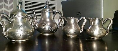 James W Tufts Quadruple Plate 4503 Victorian Teapot,Creamer,Sugar bowl,spoon cup