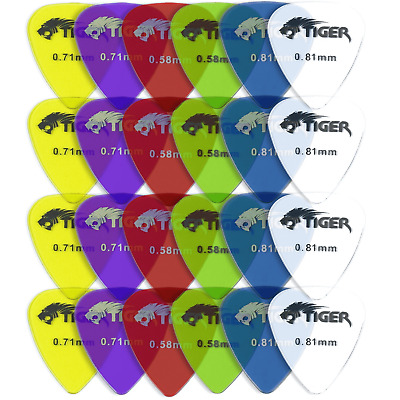 Tiger Gel Guitar Picks - Pack of 24 Guitar Plectrums Light-Heavy (0.58