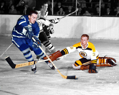 Gerry Cheevers Boston Bruins, Frank Mahovlich Toronto Maple Leafs 8x10 Photo