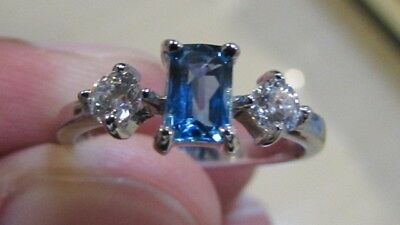 Blue Topaz gemstone ring for women made from Silver 925.Rhodium Plated