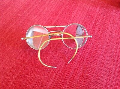 Vintage Steampunk Motorcycle Safety Aviator Glasses Goggles Wire Mesh Shields