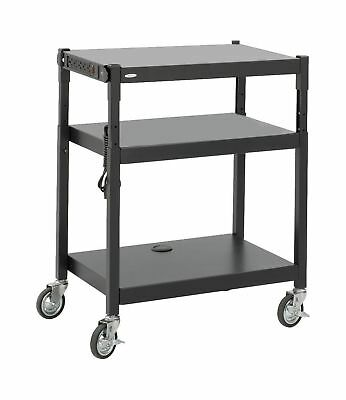 Safco Products 8932BL Steel Adjustable Height AV Cart Black