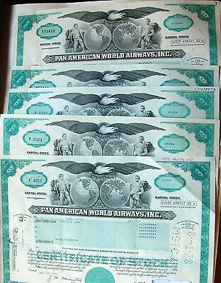 Lot of 5. USA stock certificate Pan American World Airways