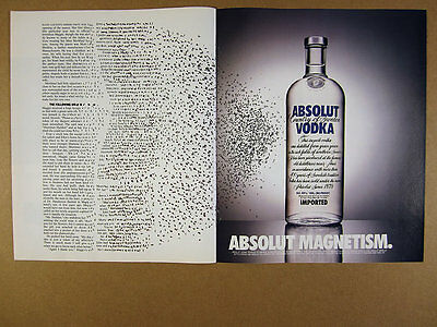 1994 Absolut Magnetism word letter story magnets bottle photo vintage print Ad