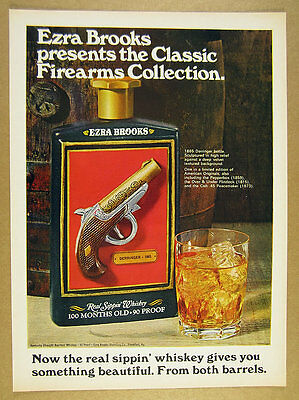 1969 Ezra Brooks Bourbon 1865 Derringer bottle photo vintage print Ad