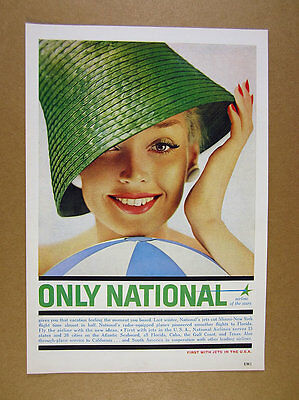 1959 National Airlines pretty woman in green hat photo vintage print Ad