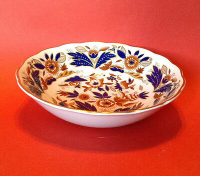 6 Six Booths Dovedale Cereal Bowls - Cobalt Blue And Brown With Gilding