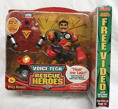 NEW 2000 FISHER PRICE RESCUE HEROES VOICE TECH Billy Blazes w/video