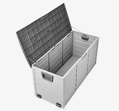 Garden Storage Box Outdoor Plastic Utility Chest Cushion Shed 290L - Black