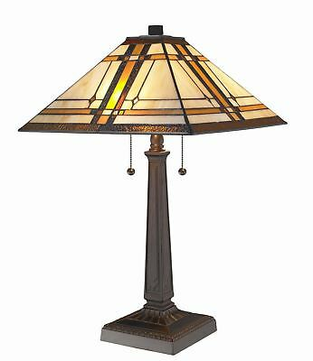 """Amora Tiffany Style 22"""" Cut Stained Glass Mission Table Lamp Lighting Home Decor"""