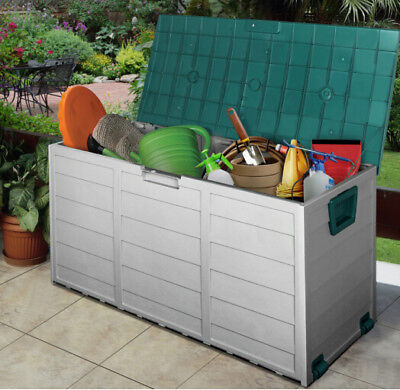 Garden Storage Box Outdoor Plastic Utility Chest Cushion Shed 290L - Green