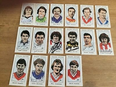 WEST MIDLANDS COLLECTORS 17 signed Englands Football Captains Collectors Cards