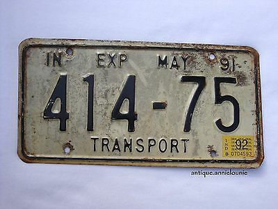 1991 with tag 1992 INDIANA Vintage License Plate TRANSPORT # 414-75