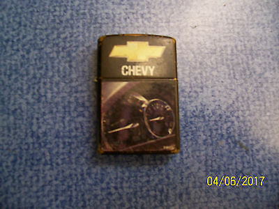 "Vintage ""ZIPPO"" Black Painted Brass ""CHEVY"" Fluid Cigarette Lighter"