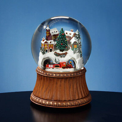 San Francisco Music Box Rotating Train & Mountain Village 120mm Water Globe  NIB