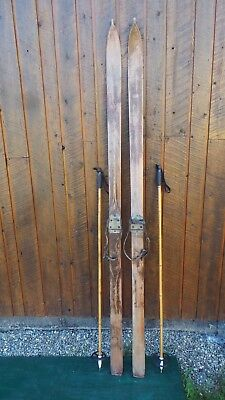 "Old Set 86"" Long Wooden Skis POINTED TOP TIPS w/ Leather Metal Bindings + Poles"