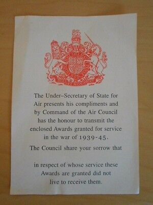 Ww2 Condolence Slip From The Royal Air Force, Army And Royal Navy  Unissued