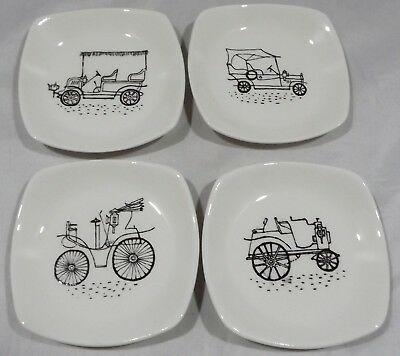 Set Of Four Midwinter Stylecraft Pin Dishes Featuring Vintage Cars By T. Conran