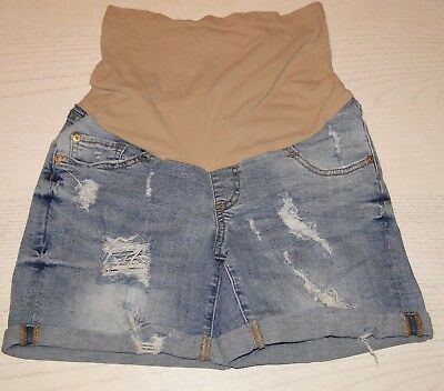 Luxe Essential Denim LED Womens Distressed Cuffed Maternity Jean Shorts Size XS