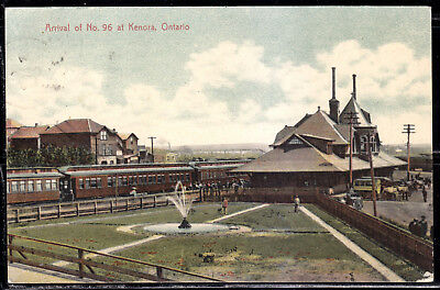 Kenora, ON, Arrival of No. 96, 1908, Train, Station